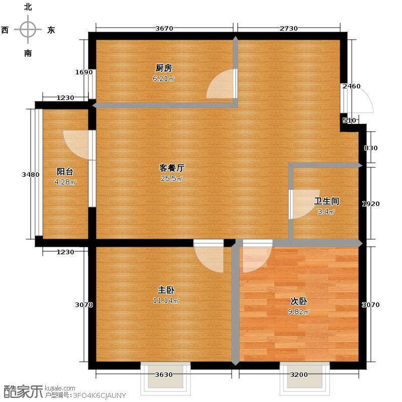 丽水金阳83.00㎡J8户型2室2厅1卫