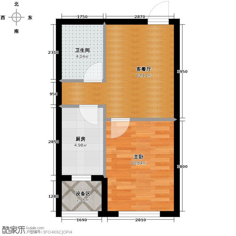 西城逸景46.63㎡Q户型1室1厅1卫1厨