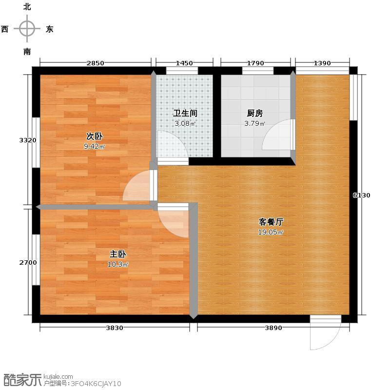 丽水金阳67.00㎡E4户型2室2厅1卫