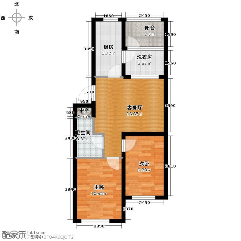 西城逸景68.40㎡C户型2室1厅1卫1厨