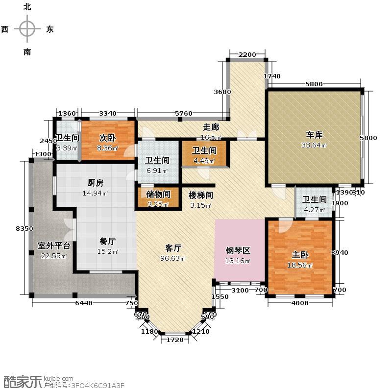 天乐浅隐山240.09㎡疗养中心2#楼1层户型2室1厅4卫