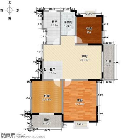 王子公馆2室1厅1卫1厨122.00㎡户型图