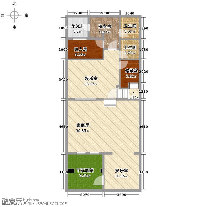 阳光100果岭公馆87.00㎡B2-B5b地下室户型5室4厅5卫