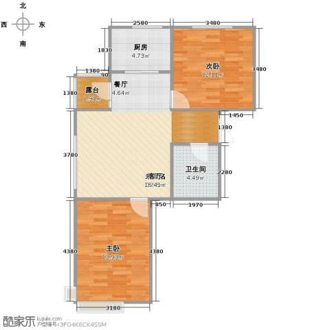 惠盛苑2室0厅1卫1厨80.00㎡户型图