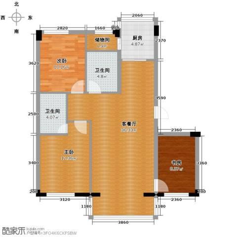 泰莱香榭里3室1厅2卫1厨110.00㎡户型图