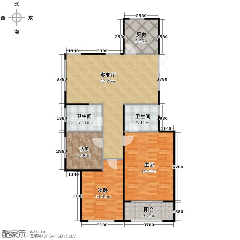 西溪山庄136.00㎡东方苑边套户型3室2厅2卫