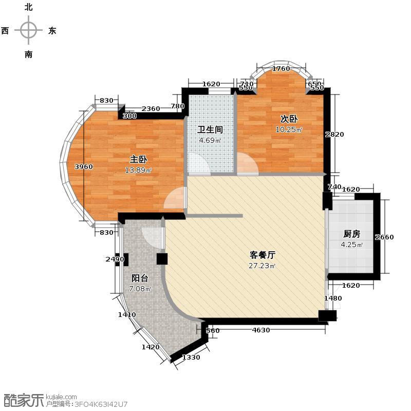 玉兰公寓88.00㎡2-16层户型2室1厅1卫1厨