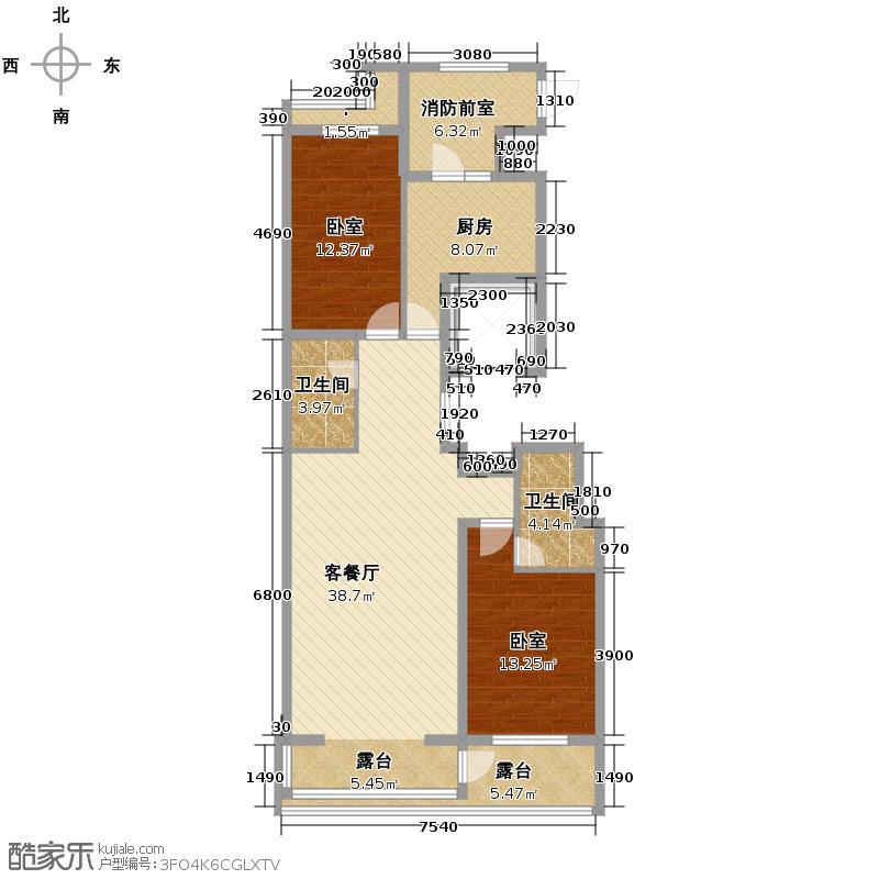 阳光100果岭公馆125.88㎡高层A户型2室2厅2卫
