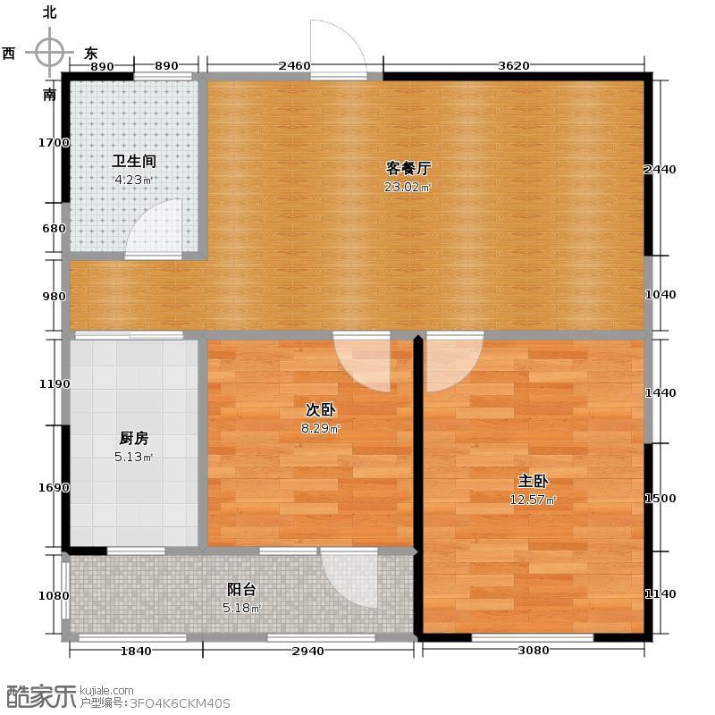 澳海西湖印象63.21㎡B区H户型2室1厅1卫1厨
