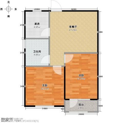 惠盛苑2室1厅1卫1厨74.00㎡户型图