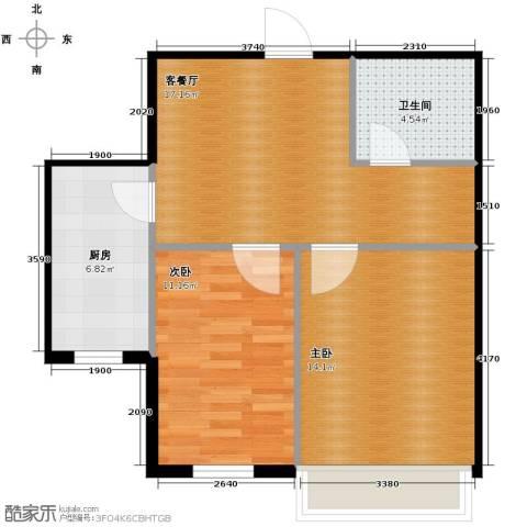 秀水花城2室1厅1卫1厨63.00㎡户型图