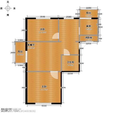 秀水花城2室1厅1卫1厨82.00㎡户型图