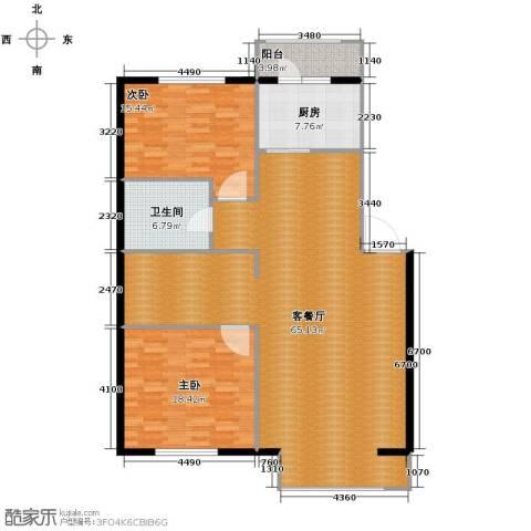 秀水花城2室1厅1卫1厨117.53㎡户型图