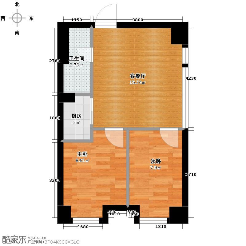 嘉龙中心74.00㎡C户型2室2厅1卫