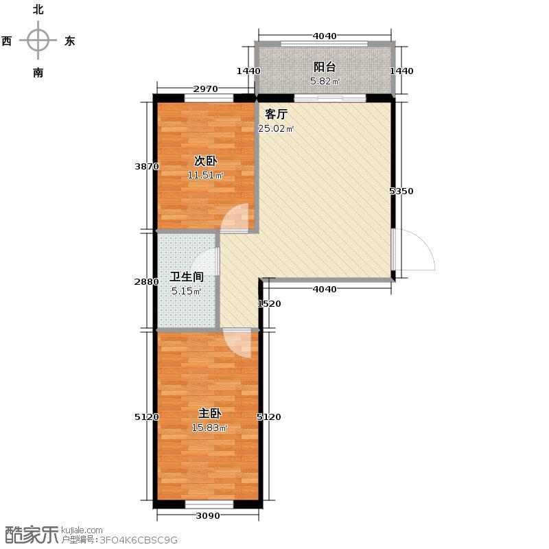富城国际花园75.52㎡户型2室1厅1卫