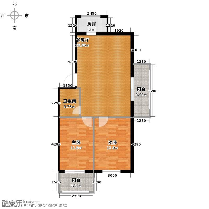富城国际花园86.05㎡户型2室1厅1卫1厨