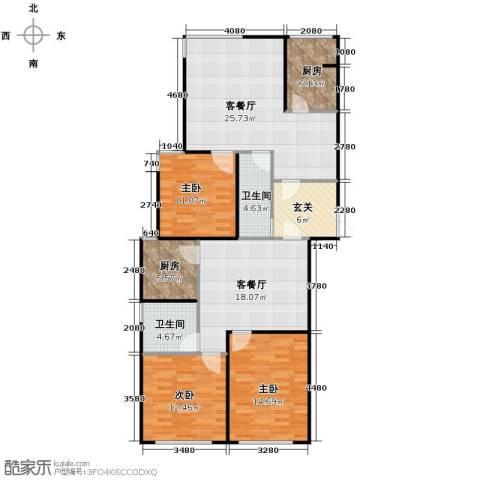 瑞宝国际花苑3室2厅2卫0厨157.00㎡户型图