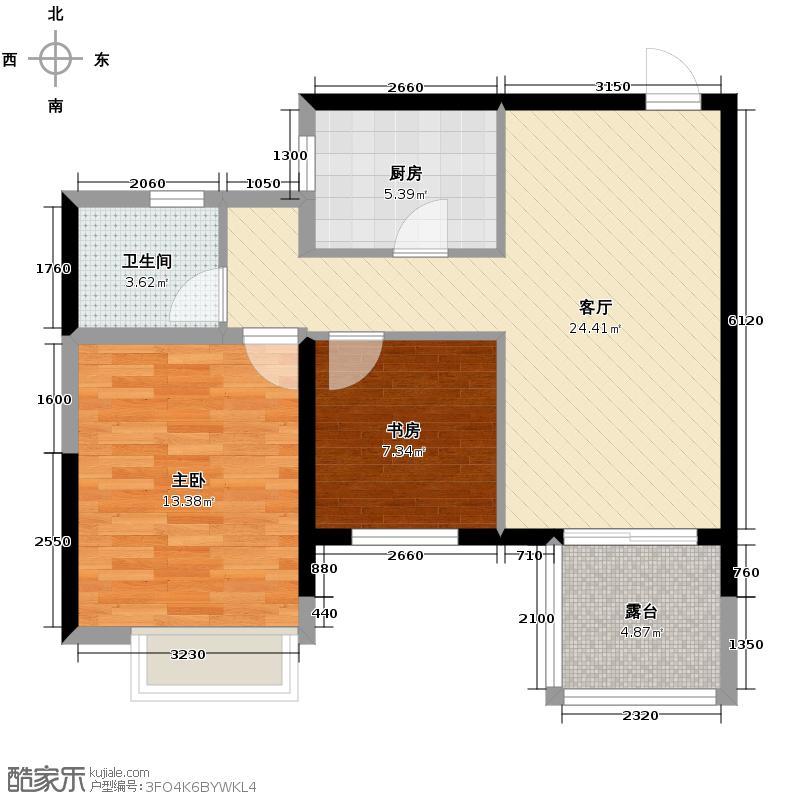 金都夏宫82.00㎡荷院1、4、5号楼A1户型2室2厅1卫