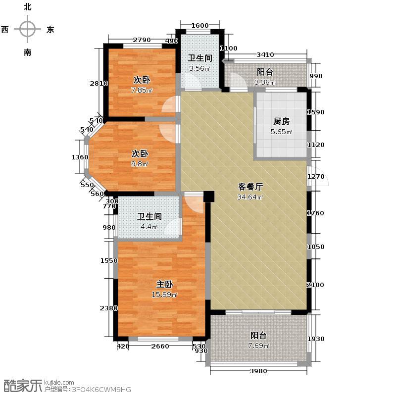圣联梦溪小镇124.00㎡7#0户型3室2厅2卫