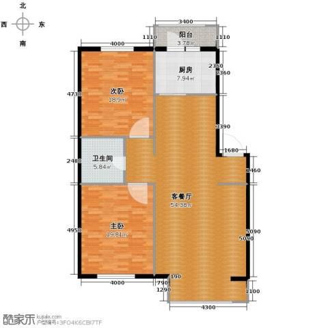 秀水花城2室1厅1卫1厨110.64㎡户型图