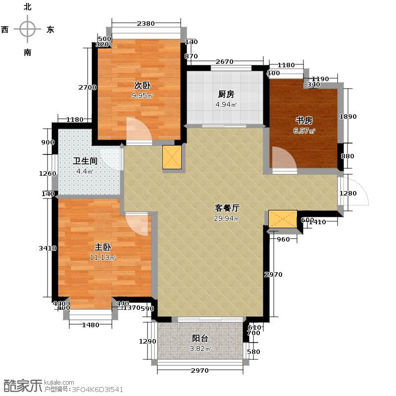 中铁滨湖名邸101.56㎡B3-2户型3室2厅1卫