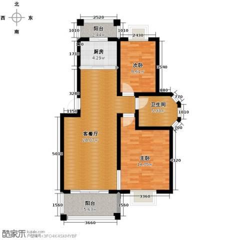 双湖明珠2室1厅1卫1厨87.00㎡户型图