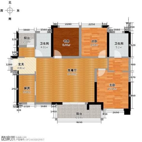 万科缤纷四季3室1厅2卫1厨104.00㎡户型图