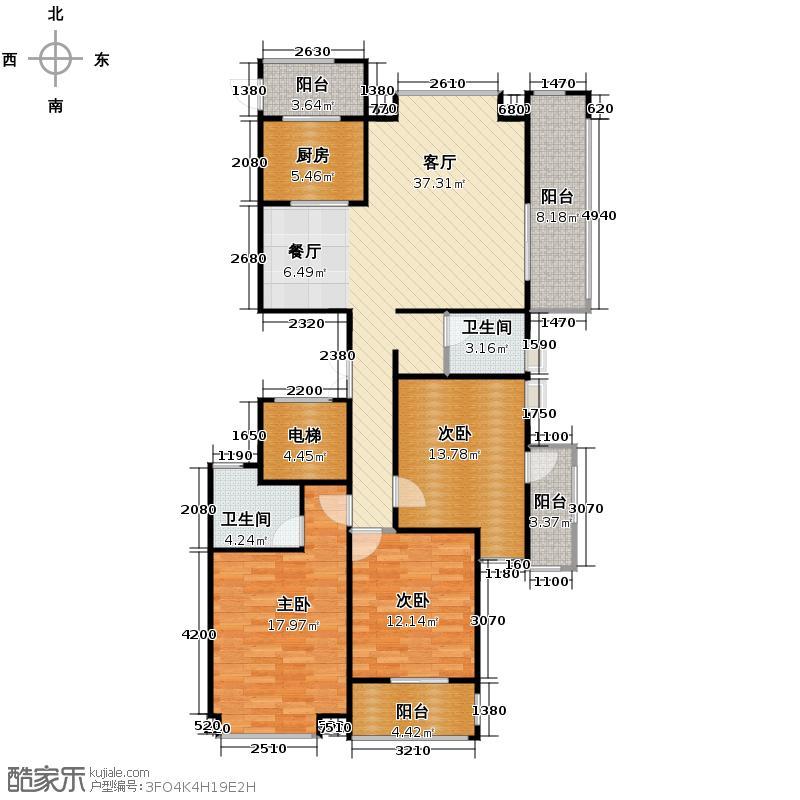 群升白马郡136.00㎡7#楼A-2户型3室1厅2卫1厨