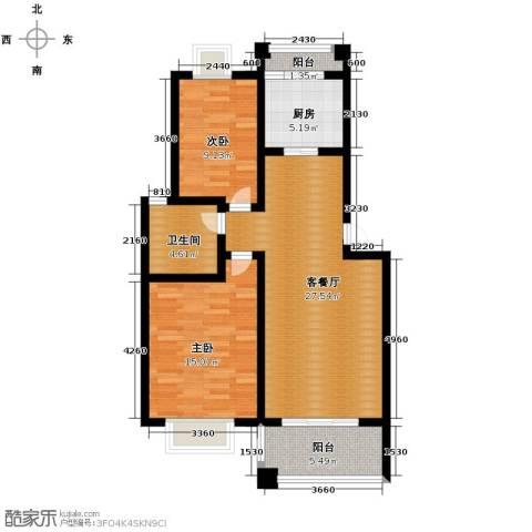 双湖明珠2室1厅1卫1厨85.00㎡户型图