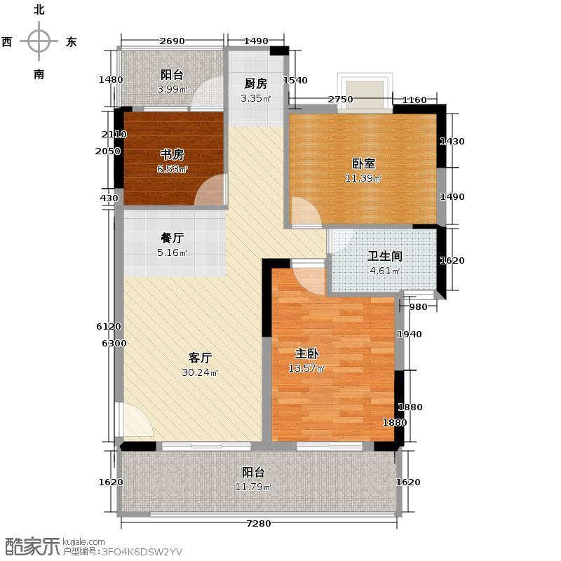 宝行御泉湾91.64㎡5、6、8座03/08单元标准层平面图户型2室1厅1卫