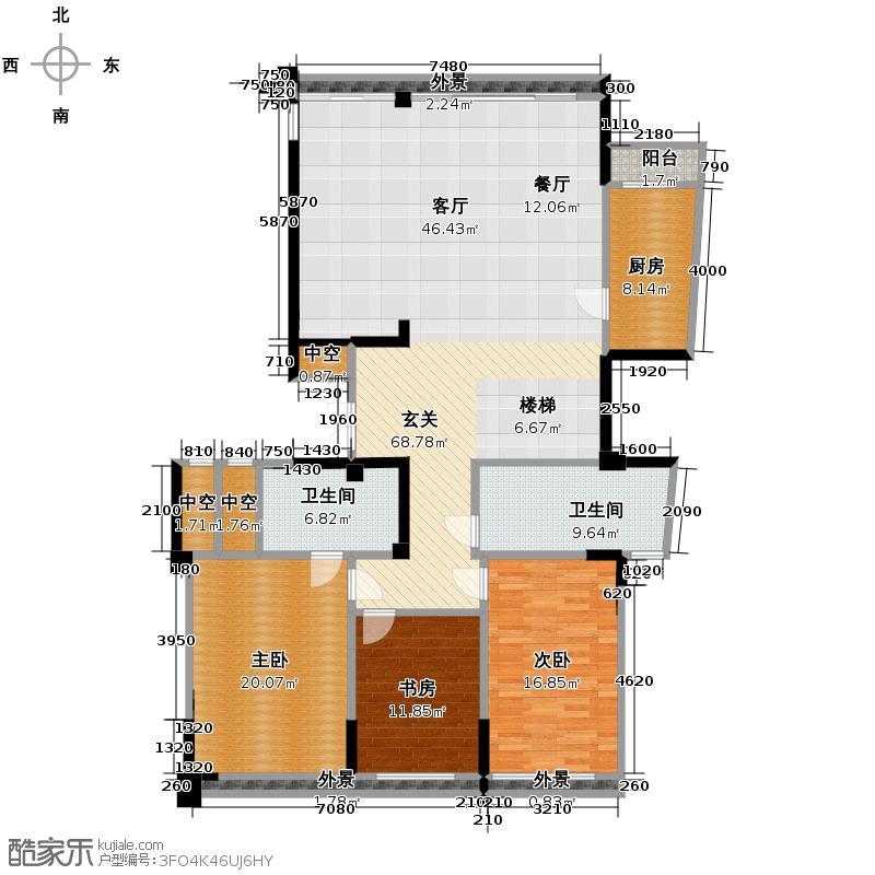 海威国际303.05㎡5#4-3301下户型3室2卫1厨