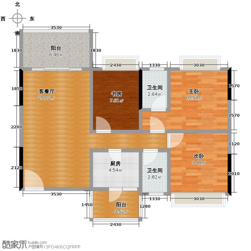 凯欣名苑89.04㎡2栋6-13F01单元户型3室2厅2卫