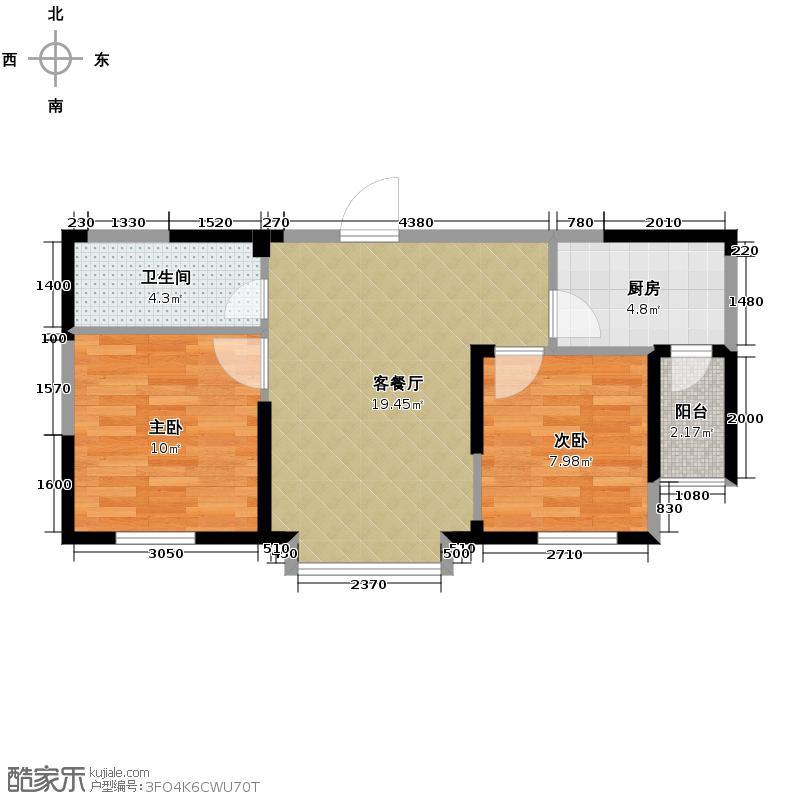 益田枫露74.66㎡G3户型2室2厅1卫