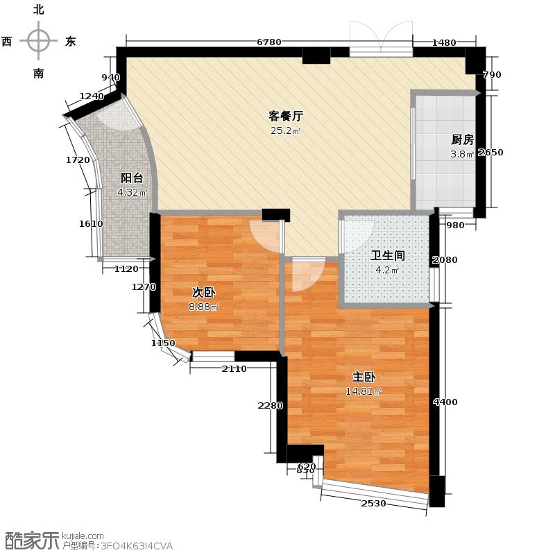 玉兰公寓82.00㎡2-16层户型2室1厅1卫1厨