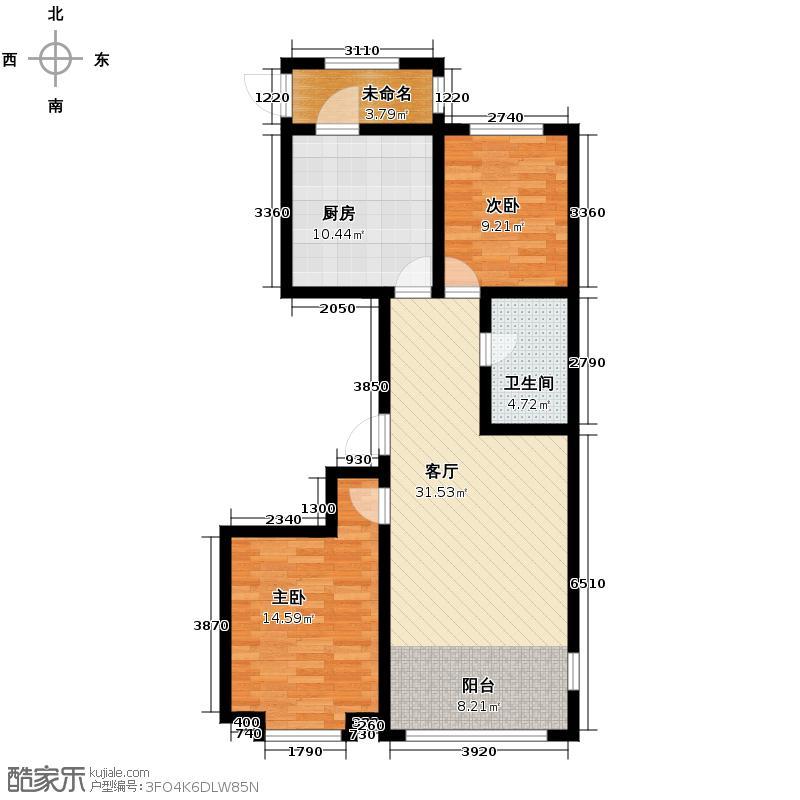 天鹅湾赫郡119.53㎡B-5(含暖阳台)户型2室1厅1卫