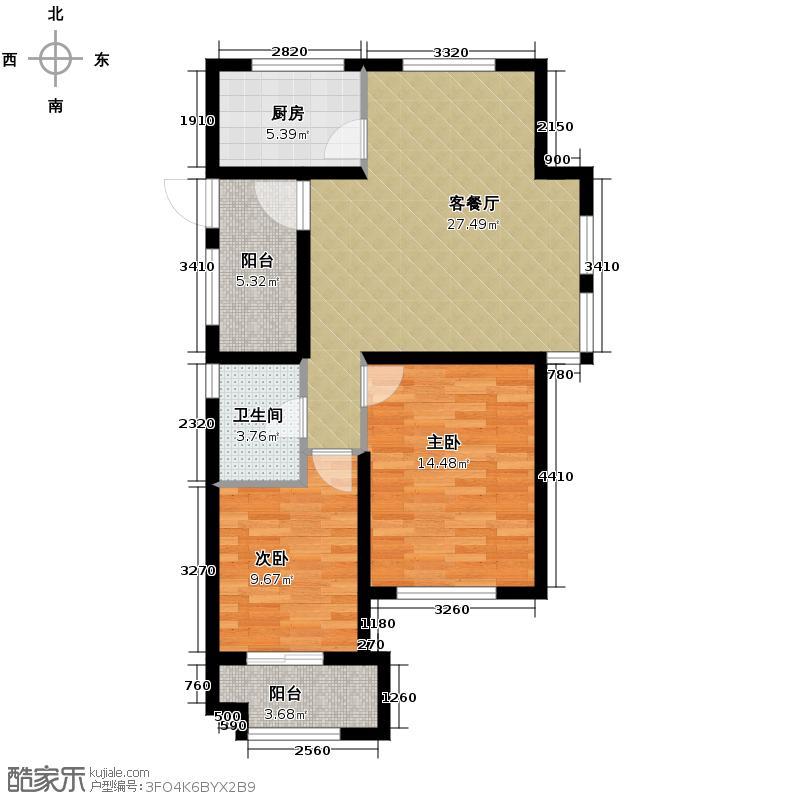 金都夏宫87.00㎡夏宫荷院3号楼C1户型3室2厅1卫