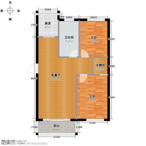 泰莱香榭里2室1厅1卫1厨93.00㎡户型图