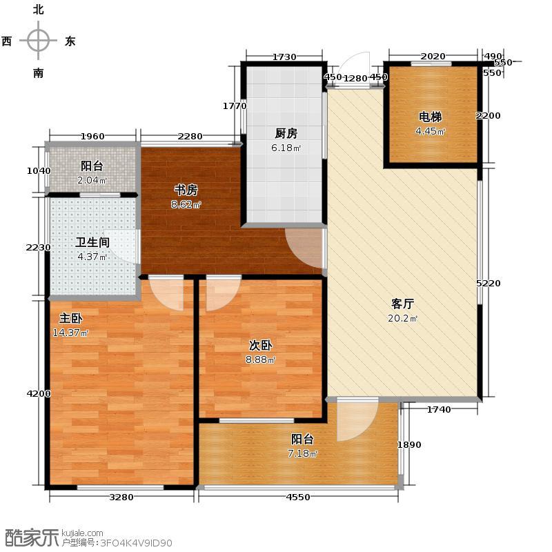 绿城之江1号88.00㎡东区F-2户型3室1厅1卫1厨