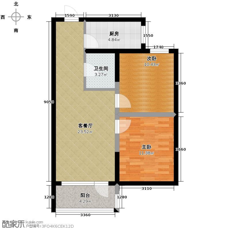 沿海赛洛城76.00㎡B4号楼B户型2室2厅1卫