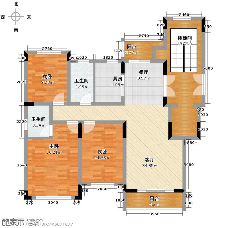 西墅锦园115.60㎡A户型3室2厅2卫