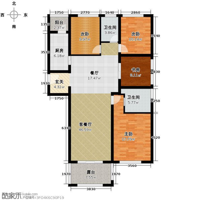 保利霞飞郡138.00㎡高层B户型4室2厅2卫