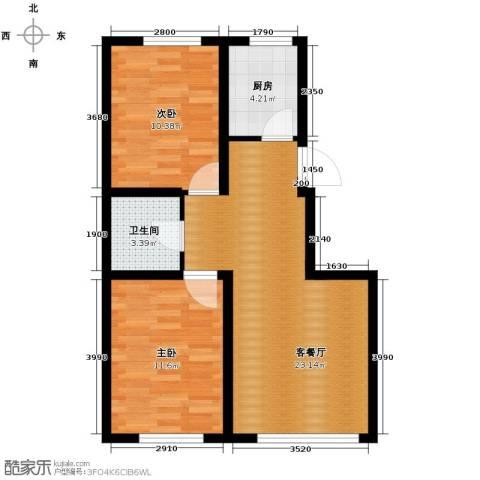 香槟蓝郡2室2厅1卫0厨87.00㎡户型图