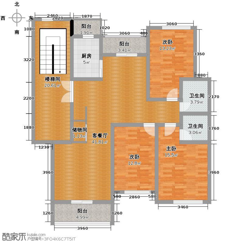 西墅锦园132.20㎡C户型3室2厅2卫