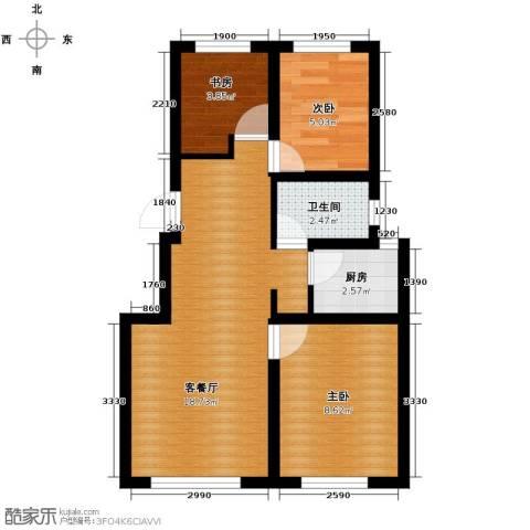 香槟蓝郡3室2厅1卫0厨91.00㎡户型图