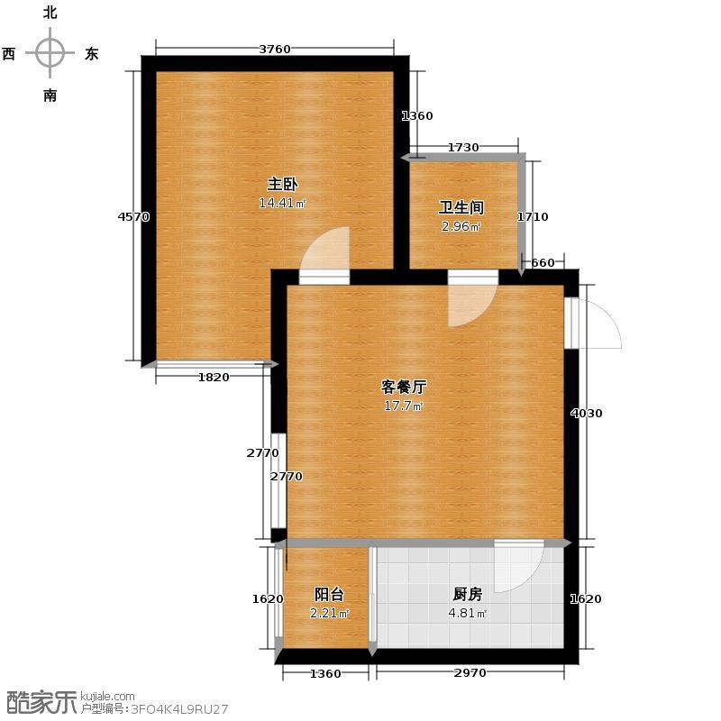 万合世家项目58.50㎡2#D户型1室1厅1卫1厨