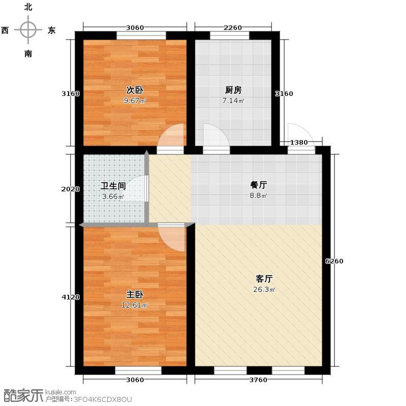 清河湾88.98㎡户型2室2厅1卫