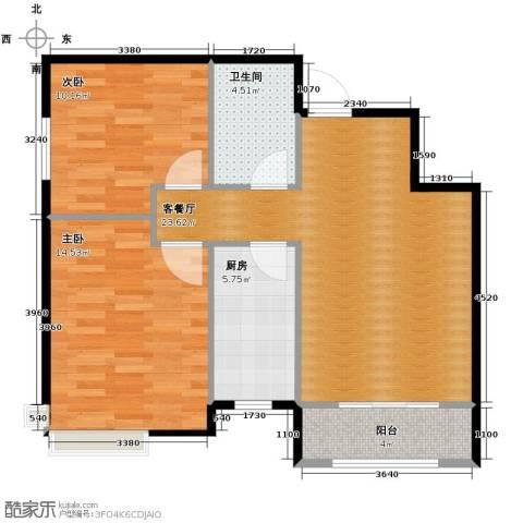 富城铭邸2室2厅1卫0厨81.00㎡户型图