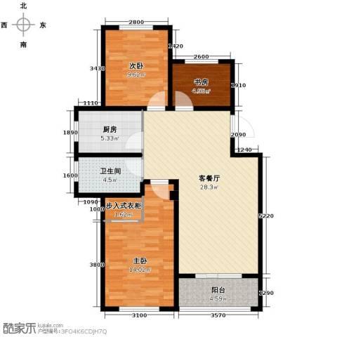 富城铭邸3室2厅1卫0厨93.00㎡户型图