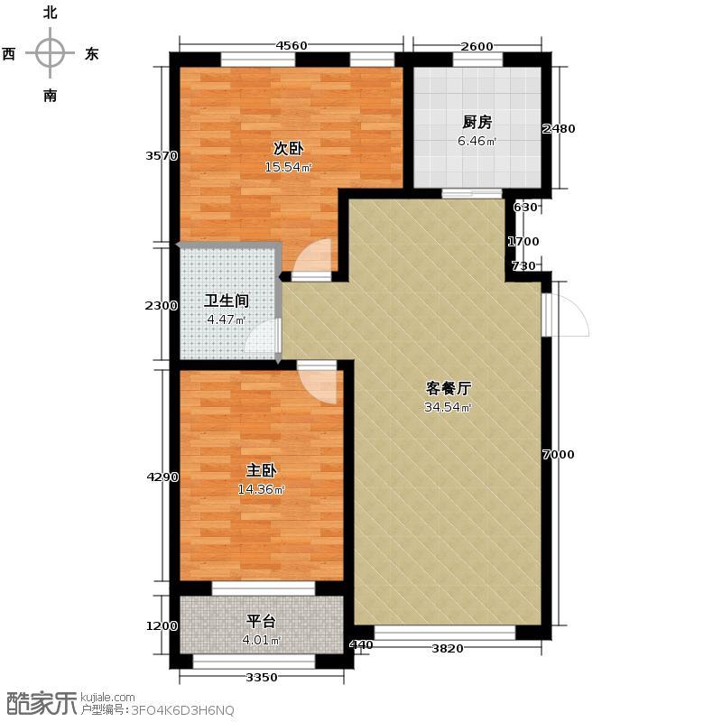 亚泰梧桐公馆88.00㎡户型2室1厅1卫1厨