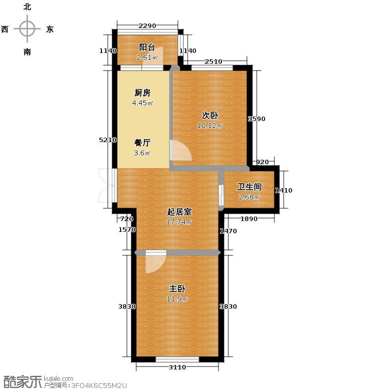 泰鑫国典51.09㎡14#楼户型2室2厅1卫